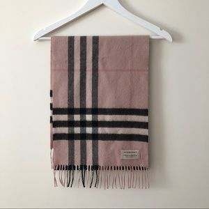 Burberry Pink Cashmere Check Scarf
